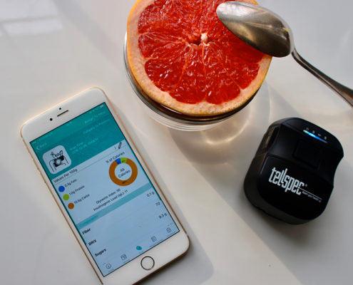 Tellspec sensor with grapefruit